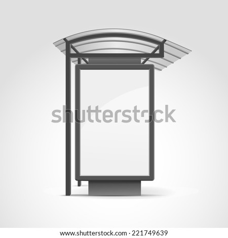 Public Transport Stop with Billboard and Place for Message - stock photo