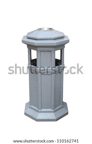 Public trash can isolated on white background. - stock photo