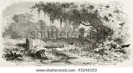 Public wash ruins in San Pablo de Olivenca, Brazil. Created by Riou, published on Le Tour du Monde, Paris, 1867 - stock photo