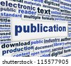Publication poster design. Document dissemination messeage background - stock photo