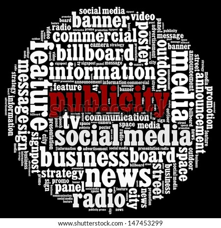 Publicity in word collage - stock photo