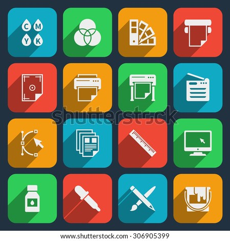 Publisher and printing house icons - stock photo