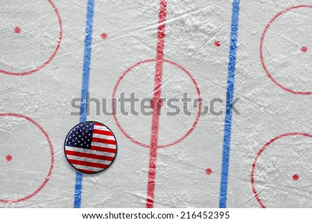 Puck lying on the ice hockey rink. Concept, scheme - stock photo