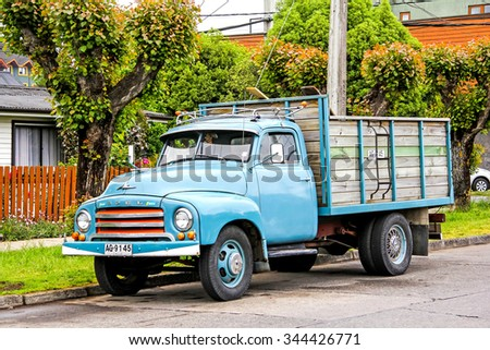 PUCON, CHILE - NOVEMBER 20, 2015: Old truck Opel Blitz at the village street.