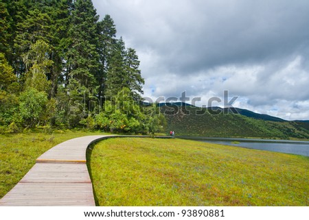 Pudacuo national park . Taken in the Shangri-La Yunnan China - stock photo