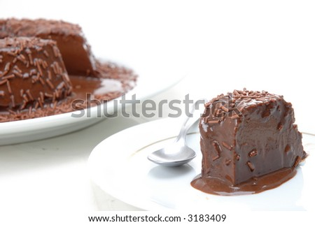 Pudding of Chocolate with syrup and granulated chocolate