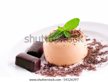 Pudding with strawberries and chocolate, a wonderful dessert - stock photo
