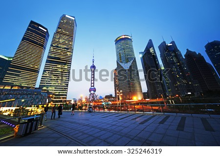 Pudong financial district Shanghai, China - stock photo