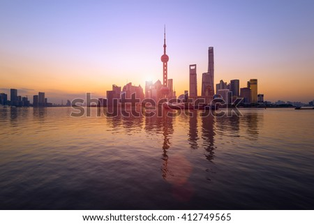 Pudong Skyline at sunrise, Shanghai, China . - stock photo