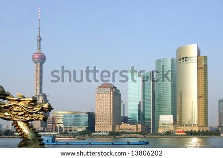 Pudong skyline at sunset, Shanghai, China - stock photo