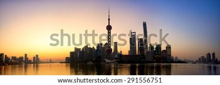 Pudong skyline panorama at sunrise, Shanghai, China - stock photo