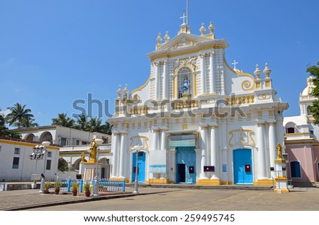 PUDUCHERRY, INDIA -FEBRUARY 7 2015: Our Lady of Immaculate Conception Cathedral was completed in 1791 and is dedicated to St. Peters and is the mother church for the Roman Catholic. - stock photo