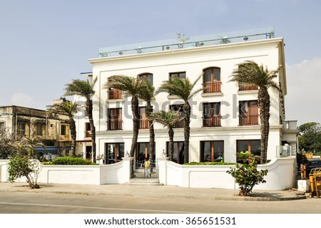 PUDUCHERRY, INDIA - JANUARY 2: old french house on January 2, 2014 in Puducherry.