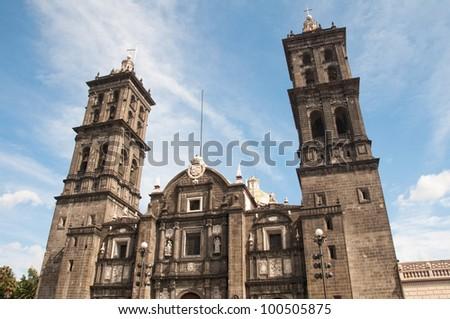 Puebla cathedral, Mexico - stock photo