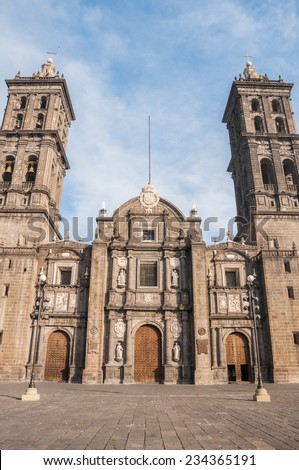 Puebla Cathedral, the second largest in Mexico - stock photo