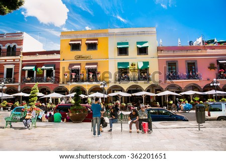 PUEBLE, MEXICO-DEC 5, 2015: Zocalo square in Pueble, Mexixo  on Dec 5, 2015.The Zocalo of the city of Puebla is one of the best preserved in Mexico. - stock photo