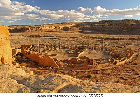 Pueblo Bonito, Chaco Culture National Historical Park, New Mexico - stock photo