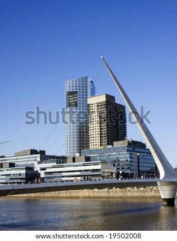Puente de la Mujer (women's bridge), Puerto Madero, Buenos Aires, Argentina. - stock photo