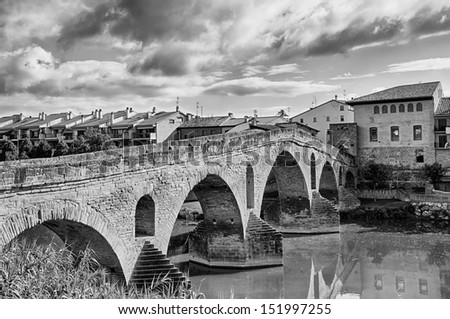 Puente La Reina - Gares is a town and municipality located in the autonomous community of Navarra, in northern Spain. - stock photo