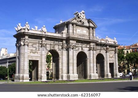 Puerta de Alcala (Alcala Gate) in Madrid, Spain - stock photo