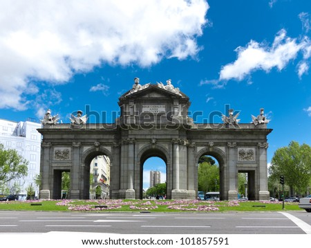 Puerta de Alcala (Alcala Gate) in the Plaza de la Independencia in Madrid, Spain