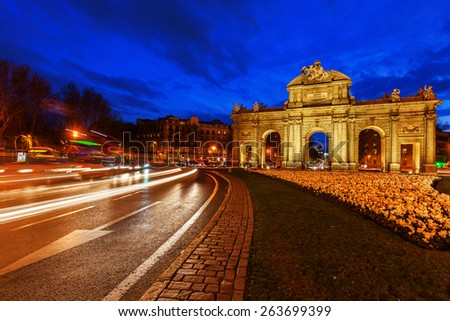 Puerta de Alcala in Madrid, Spain, at night - stock photo