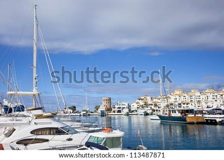 Puerto Banus holiday resort marina on Costa del Sol in Spain, southern Andalusia region, Malaga province. - stock photo