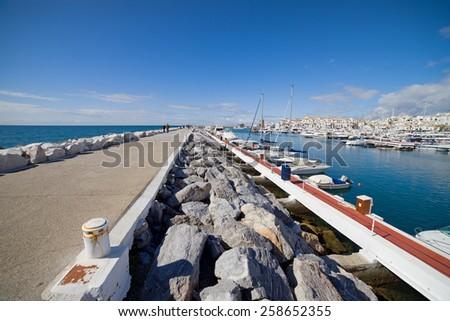 Puerto Banus marina and pier on Costa del Sol in Spain, near Marbella. - stock photo