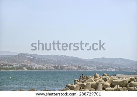 PUERTO BANUS, SPAIN- AUGUST 22, 2011: Beach in the Puerto Banus - stock photo