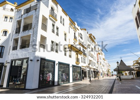 Puerto Banus, Spain - August 15, 2015: Shopping center in Puerto Banus, a marina near Marbella in Costa del Sol, Andalusia. - stock photo