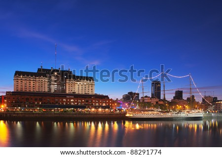 Puerto Madero neighborhood at Night, HDR image, Buenos Aires, Argentina. - stock photo