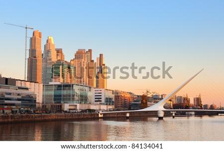 Puerto Madero neighborhood, Skyline, Buenos Aires, Argentina. - stock photo
