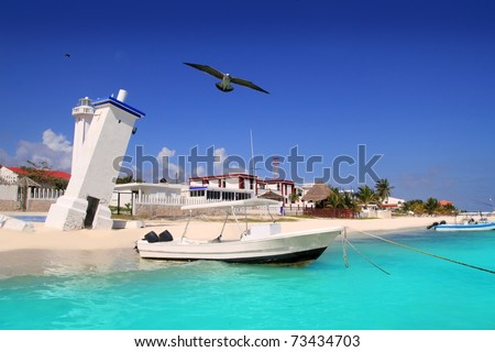 Puerto Morelos beach Mayan riviera Caribbean old lighthouse inclined - stock photo