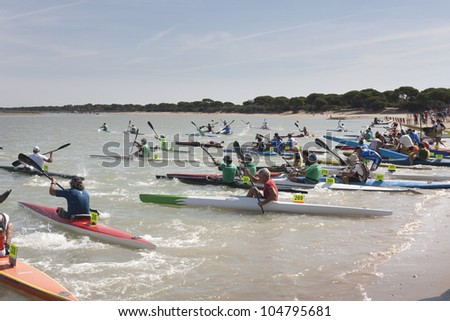 PUERTO REAL, CADIZ - JUNE 09: Start of the race for canoes Andalucia Championship, played at the Rio San Pedro. June 09, 2012 in Puerto Real, Cadiz (Spain)
