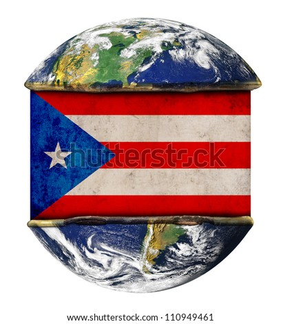 Puerto rico earth globe flag. Elements of this image furnished by NASA. - stock photo