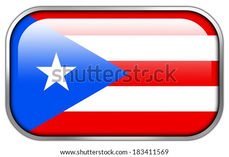 Puerto Rico Flag rectangle glossy button - stock photo