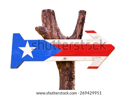 Puerto Rico Flag wooden sign isolated on white background - stock photo