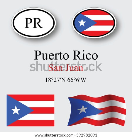 puerto rico icons set against gray background, abstract art illustration, image contains transparency - stock photo