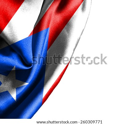 Puerto Rico waving silky flag isolated on white background - stock photo
