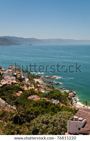 Puerto Vallarta and Banderas Bay view from the elevated viewpoint - stock photo