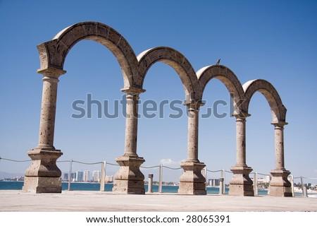 Puerto Vallarta arches on the Malecon. - stock photo