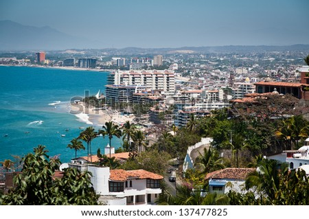 Puerto Vallarta city and Banderas Bay view from above - stock photo