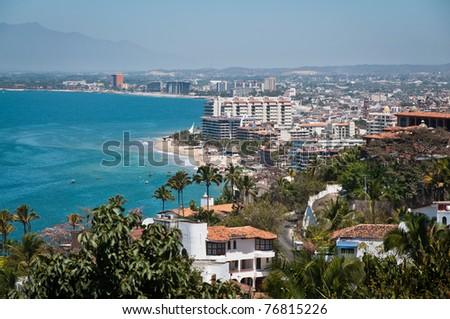 Puerto Vallarta city and Banderas Bay view from above - stock photo