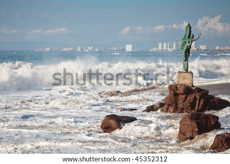 Puerto Vallarta view from Los Muertos beach with the Seahorse sculpture - stock photo
