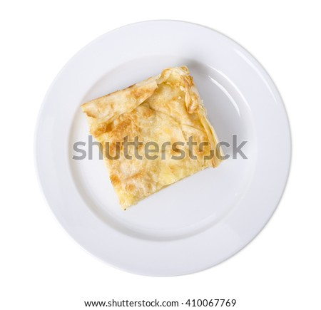 Puff cake with custard.  Isolated on a white background.