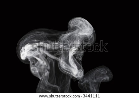 puff of aroma smoke like a skeleton of  orthograde (real photo) - stock photo
