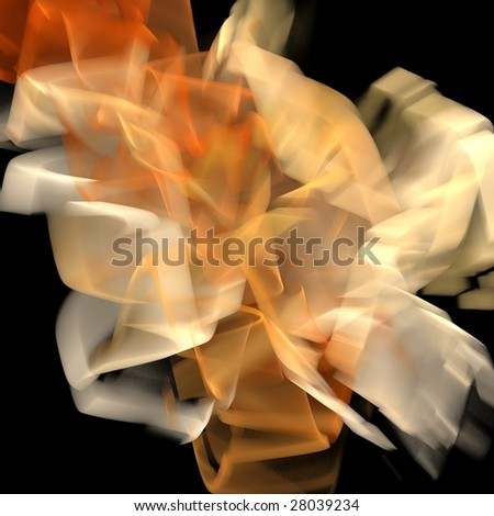 Puff of colorful smoke isolated on black