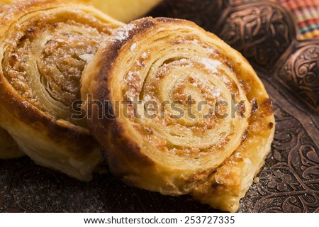 Puff pastry cookies with apple and cinnamon - stock photo