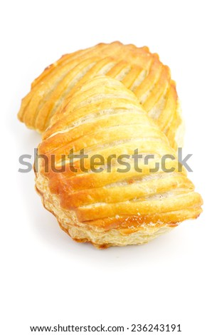 Puff pastry, isolated on white background - stock photo