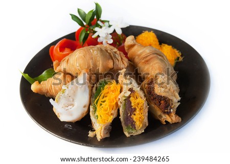 Puff pastry on a white background. - stock photo